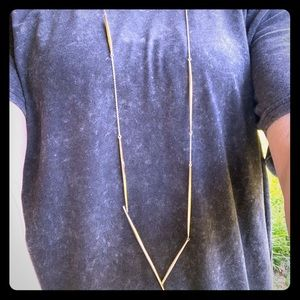 Alexis Bittar Asymmetrical long gold necklace.